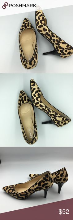 """NWOT Calvin Klein Leopard Pump Shoes Dyed fur patented leather upper. Leather inside with heel and sole integrated cushions. Rubber with adherence stripes on the bottom. 2.5"""" heel. New without box. See pics.  Size 8.5.  Make a reasonable offer and I'll either counter, accept or decline. No trades.  Please check out the rest of my closet, I have various brands. Calvin Klein Shoes Heels"""