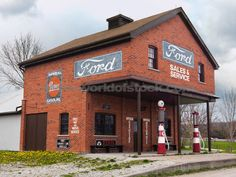 vintage gas station signs | Gasoline Vintage Gas Station With Ford Sales And Services Sign ...