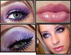 1.  eyeshadow base Urban Decay primer potion 2. med purple from lid to crease MAC stars & rockets 3. apply MAC Violet pigment with mixing medium to lid 4. add highlight to brow bone & inner corners MAC kitchmas pigment & crystal avalanche e/s 5. blend 6. blue Ishadow to lower lashline (outer: lite blue) (inner: drk blue) 7. black liner to top lashline MAC blacktrack fluidline 8. L'Oreal HIP cream liner in aqua to lower waterline 9. mascara 10. Milani Lipstick in Rose Hip