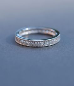 Beautiful single row of cubic zirconia stones in a channel set band ♥