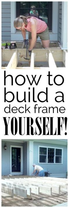 A video and photo tutorial detailing how to build the frame for a deck - yes…