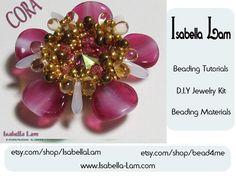 CORA Swarovski Rivoli Pendant Beadwork DIY Beading Kit by bead4me, $25.00