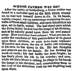 October 19, 1863; advertisement that Dr. Bourns placed in the Philadelphia Inquirer about a picture of three children found in the hands of a dead Union soldier after the battle of Gettysburg