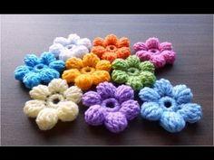 かぎ針編みの玉編みの花(長々編み5目)の編み方  How to Crochet 3D-flower - YouTube