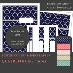 Printable Binder Covers & Spine Label Inserts: SUMMER (Navy, Coral, Pink, Light Sage & Teal) from myunclutteredlife  #printable