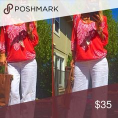 💋Red Hot Mama💋 You'll turn heads in this feminine yet chic red and white boho babe top! Cut out shoulders, strategically placed stud/sequins on the print and bottom elastic banding. Bodice fully lined. Rock this all year long with white jeans, they really don't go out of season as we were always told as young girls! White is universally chic! Dark denim would also be a great contrast. Pair those with some arm candy, boho earrings and hot shoes and you're ready for anything that comes your…