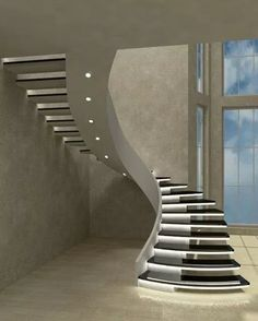 📣 97 Most Popular Modern House Stairs Design Models 36 Source by vrogueinc Staircase Design Modern, Home Stairs Design, Railing Design, Interior Stairs, Modern House Design, Stair Design, Luxury Staircase, Modern Houses, Stairs In Living Room