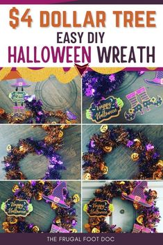 $4 Dollar Tree DIY Halloween Wreath - The Frugal Foot Doc