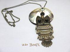Collier Hibou, Sautoir Chouette Bronze Nacre Coquillage, Bijoux Zen Boutik, Romantique, Pleine Lune : Collier par zenboutik