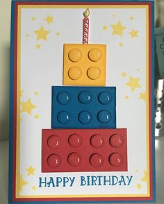 Day 1 Love Lego week. this fun Lego Brick Birthday Cake. #stampninja #stampinup…