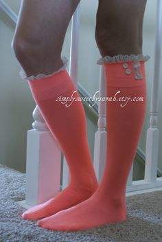 NEW Coral Boot Socks with lace trim and by SimplySweetbySarah Coral Boots, Lace Boot Socks, Lil Black Dress, Clothes Horse, Hippie Chic, Sock Shoes, Stiletto Heels, Style Me, Autumn Fashion