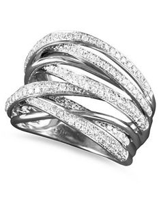 Classique by EFFY Collection 14k White Gold Diamond Multi-Row Ring (3/4 ct. t.w.) - Rings - Jewelry & Watches - Macy's