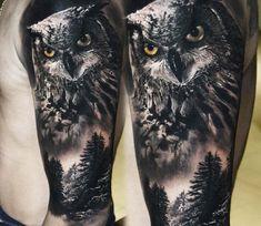 Owl and forest tattoo Eliot Kohek Tribal Arm Tattoos, Wolf Tattoos, Black Tattoos, Black And Grey Tattoos Sleeve, Mens Owl Tattoo, Tiger Tattoo, Tattoo Owl, Leg Sleeve Tattoo, Forearm Tattoo Men