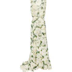 Erdem Maggie floral-print silk-chiffon maxi skirt ($1,600) ❤ liked on Polyvore