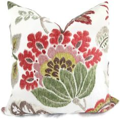 Jacobean Floral Decorative Pillow Cover Red, Green and Brown 18x18, 20x20, 22x22 Eurosham - Accent Pillow - Throw Pillow - Pillow Cushion by PopOColor on Etsy https://www.etsy.com/listing/94360997/jacobean-floral-decorative-pillow-cover