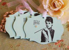 Breakfast At Tiffanys Theme- Audrey Hepburn- Gift Tags- Tiffany & Co.- Youre A Gem- Set of 6 via Etsy