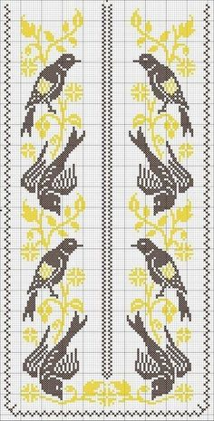 lovely embroidery for a yokesn Small Cross Stitch, Cross Stitch Bird, Cross Stitch Borders, Cross Stitch Flowers, Cross Stitch Designs, Cross Stitching, Cross Stitch Patterns, Embroidery Art, Cross Stitch Embroidery