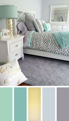 12 gorgeous bedroom color schemes that will give you inspiration for your next bedroom remodel - Decoration Ideas 2018 - Schlafzimmer Beautiful Bedroom Colors, Gorgeous Bedrooms, Best Bedroom Colors, Room Colors, Bedroom Interior, Bedroom Decor, Beautiful Bedrooms, Bedroom Color Schemes, Remodel Bedroom