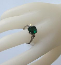 Love the Uncas setting  Sterling  Uncas Ring with Emerald Colored Stone  by cvaccessories