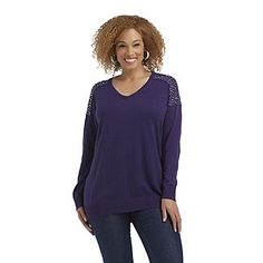 Jaclyn Smith Women's Plus Embellished V-Neck Sweater - Clothing - Women's Plus - Sweaters