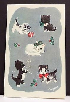 Vintage-Christmas-Card-Greeting-Playful-Kittens-Cats-Kitty-Rust-Craft-Cooper