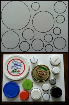 Play Create Explore: Tracing Bottle Caps and Lids to Make an Outline Matching Activity/Puzzle