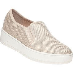 J/SLIDES Jibbie Beige Mesh Slip-On Sneaker (505 NOK) ❤ liked on Polyvore featuring shoes, sneakers, beige fabric, beige wedge shoes, slip-on shoes, wedge shoes, platform wedge sneakers and platform wedge shoes