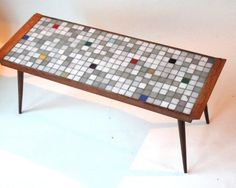 mosaIc table , 1950s vintage supplies- Mid Century - table with glass tiles- coffee furniture- for retro interior- art design. $295,00, via Etsy.