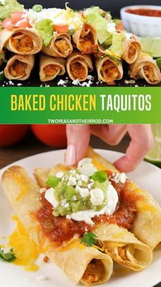 These easy Baked Chicken Taquitos recipes are stuffed with chicken and cheese perfect appetizer or meal any time you want! It's a homemade family favorite prepared even healthier. Serve them with sour cream, guacamole or salsa, for kids desire! Authentic Mexican Recipes, Taquitos Recipe, Baked Chicken Flautas Recipe, Homemade Taquitos, Baked Taquitos, Chimichanga Recipe, Recipe Chicken, Easy Baked Chicken, Meals Made With Chicken