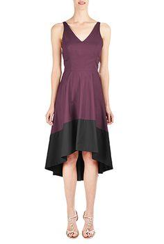 I <3 this Colorblock high-low cotton poplin dress from eShakti