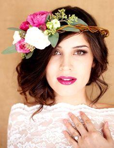 Bride's messy loose chignon bun bridal hair Toni Kami Wedding Hairstyles ♥ ❷ Wedding hairstyle ideas pink and white flower crown corona halo