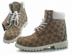 Custom Timberland White Leather Brown Gucci Boots-$125