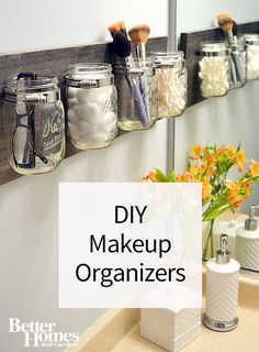 These awesomely easy DIY makeup organizers are cute and functional ways to store your brushes, foundation and lipstick. Make a cheap storage caddy out of upcycled and reused items such as mason jars, glass jars and DIY painted rolling caddies.
