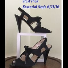 "🎉HP 6/11/16🎉Ellen Tracy Black Heels👠 Fabulous pair of Slingbacks by Ellen Tracy feature open toe design with Grosgrain Ribbon Tie on vamp. Grosgrain Fabric shoe has Open Cut-outs at sides with a 4"" Patent heel. Note: there are some tiny nicks/scuffs on heels as they have been worn. (See Pic 3) SZ 10 but fits more like 9 1/2. Not my size. Make an offer.💋Host Pick🎉Essential Styles Party 6/11/16🎉 Ellen Tracy Shoes Heels"