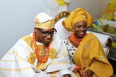 BellaNaija Bride Bolatito & Groom Bez  Photography by Kola Oshalusi For Insignia Media  Nigerian Wedding fila coral beads agbada gele bride aso oke naija groom yoruba