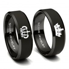 2 Piece Couple Set Black Tungsten Rings with Beveled Edge King Crown Queen Crown & Tungsten Wedding Bands Unique Rings, Beautiful Rings, Matching Wedding Rings, Matching Rings, Matching Promise Rings, Silver Claddagh Ring, Black Tungsten Rings, Tungsten Carbide Wedding Bands, Modern Jewelry
