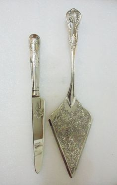 Vintage Silver Tone Wedding Cake Serving Knife by ChicEventsDecor