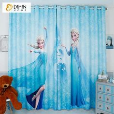 DIHINHOME Home Textile Kid's Curtain DIHIN HOME 3D Printed Cartoon Frozen Blackout Curtains,Window Curtains Grommet Curtain For Living Room ,39x102-inch,2 Panels Included