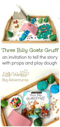 Three Billy Goats Gruff, an invitation to tell the story with props and play dough! | Little Worlds Big Adventures