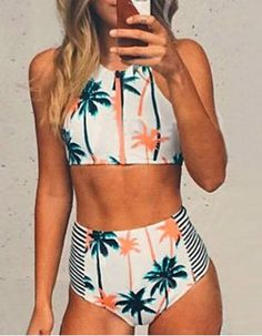 Stylish Sleeveless Zipper Fly Printed Two-Piece Women's Swimsuit Tankinis | RoseGal.com Mobile