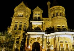 Galveston, TX--night shot of the Bishop's Palace (built 1887-1893) ...designed by nicholas j. clayton, the state's first professional architect...
