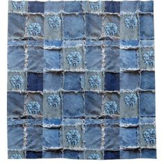 #white - #Denim Designs Faux Flowers Blue/White on Jeans Shower Curtain