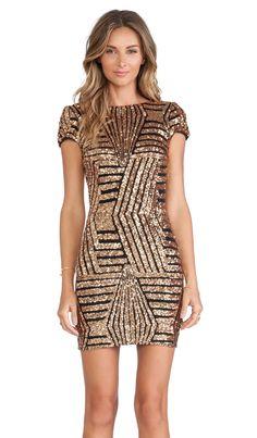 DRESS THE POPULATION Tabitha Dress in Bronze | REVOLVE