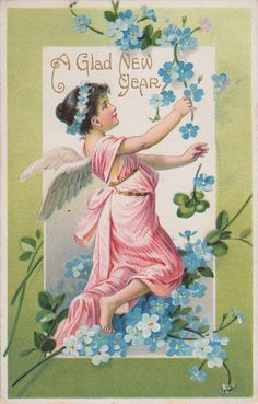 WIngs of Whimsy: New year's Floral Cherub & Forget-me-nots - free for personal use #vintage #ephemera #printable #freebie