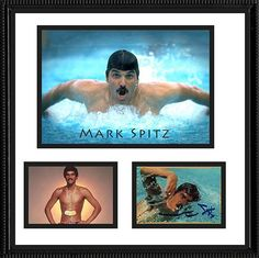 Framed Matted Olympic Gold Medal Winner Mark Spitz Autograph Hand Signed Card and Photos