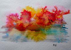 Aquarell Qualität Karton Landschaft  Regen bunt rot gelb Hajewski