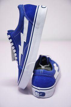 VANS REVENGE X STORM LOW TOP BLUE WHITE SWOOSH 008243190 Fly Shoes, Vans Shoes, Mens Fashion Shoes, Dope Fashion, Cool Trainers, Vans Checkered, Blue Vans, Shoe Game, Shoe Collection