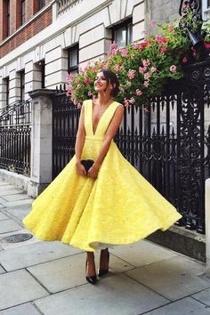 Yellow Lace A Line Deep V Neck Prom Dress,Homecoming Dresses OK977