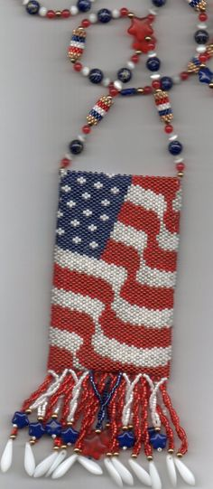 USA Flag Beaded Amulet Bag by seesbeyond on Etsy, $200.00