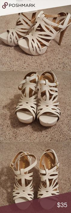 Guess heels White platform Guess heels. Only worn once. There is a small scuff on the front of the left one. guess Shoes Platforms